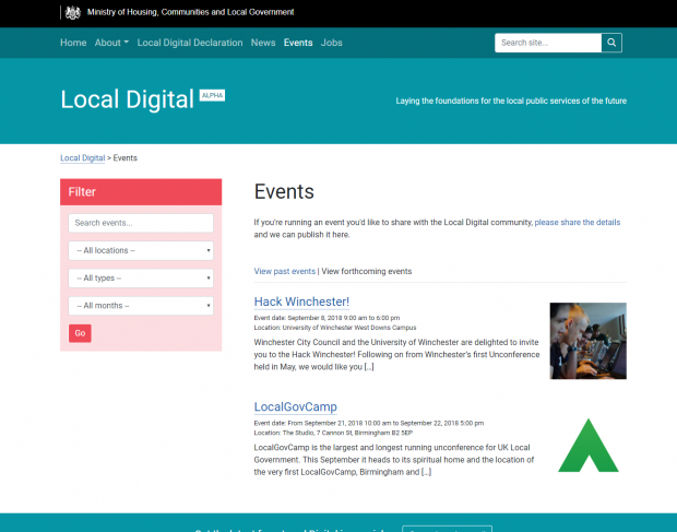 Screenshot of the events listing on localdigital.gov.uk