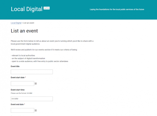 Screenshot of event submission form
