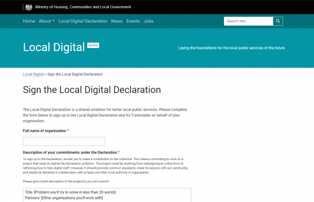 A screenshot of the Declaration sign up form on the Local Digital website