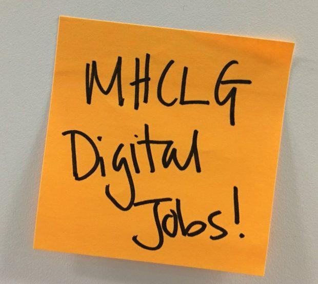 A post-it saying MHCLG Digital Jobs