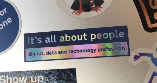 Sticker that says it's all about people