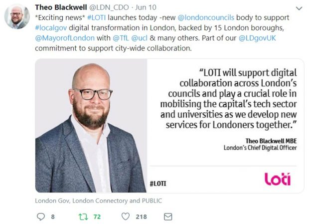 A screenshot of Theo Blackwell's tweet: Exciting news - the London Office of Technology and Innovation launches today - a new London Councils body to support local government digital transformation in London, backed by 15 London boroughs, the Mayor of London, Transport for London, University College London and many others. Part of our Local Digital Declaration commitment to support city-wide collaboration.