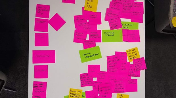 A table of post-it notes from the team's kick-off meeting.