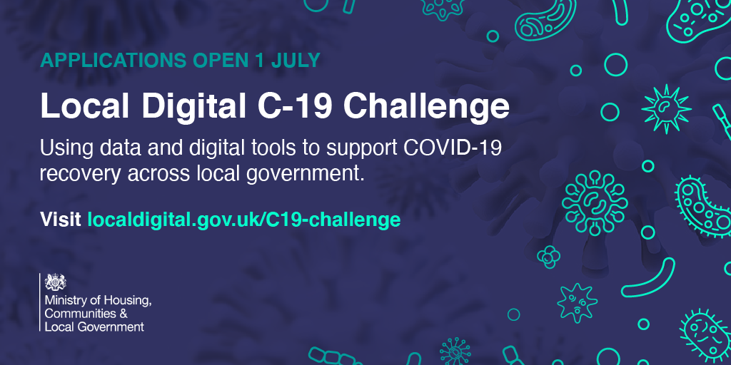 A graphic that was used to launch the Local Digital C-19 Challenge on social media