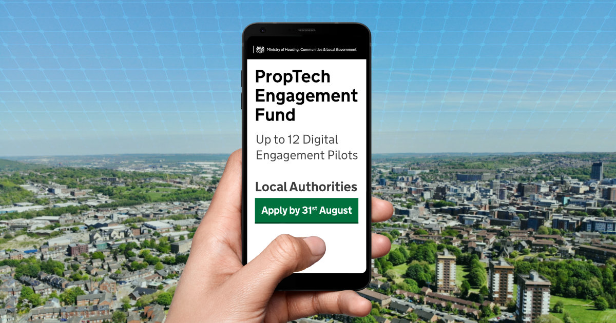 An image of a hand holding a phone that reads: PropTech Engagement Fund - Up to 12 Digital Engagement Pilots - Apply by 31st August